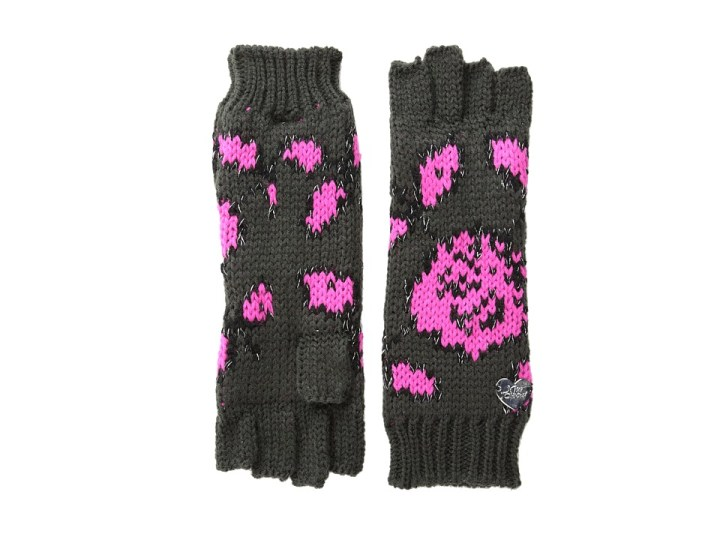 Betsey Johnson Vintage Rose Half-Finger Glove (Dark Grey) Extreme Cold Weather Gloves