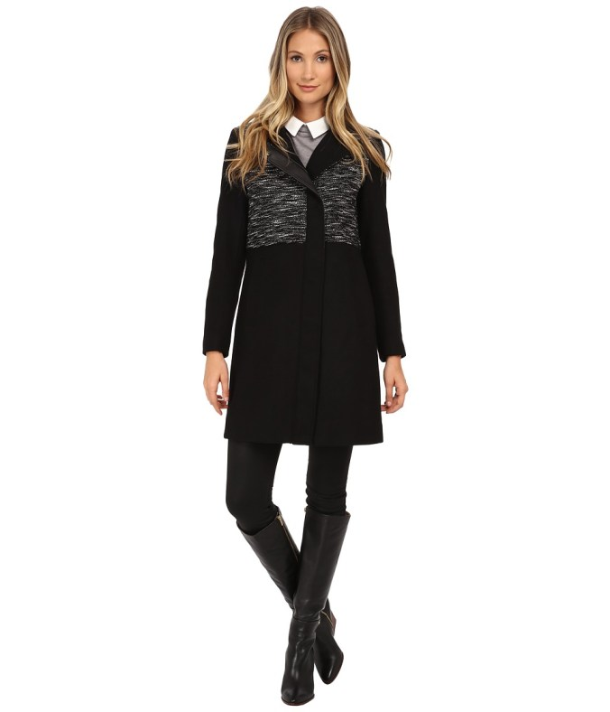 Marc New York by Andrew Marc - Tori 35 Black and White Wool (Black) Women's Coat