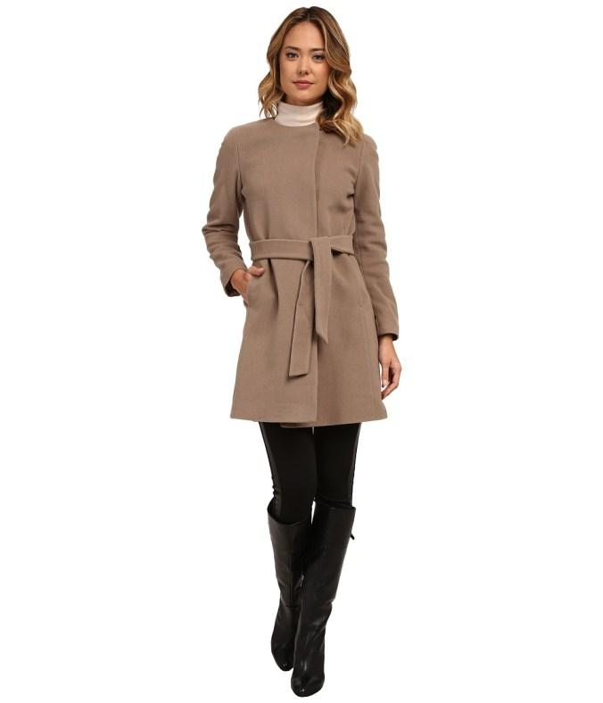 LAUREN by Ralph Lauren - Cashmere Blend Belted Collarless (Truffle) Women's Coat