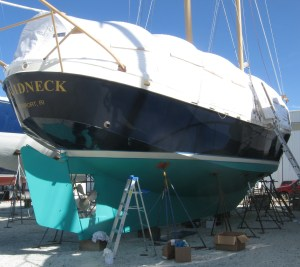 Aquidneck under her winter storage canopy.