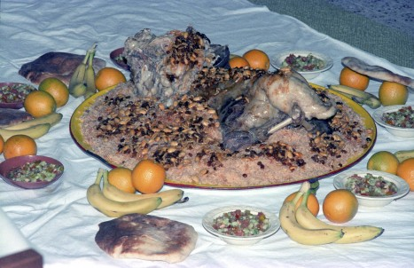 A typical Saudi Arabian Aqiqa meal consisting of roast lamb with rice, raisins and seeds.