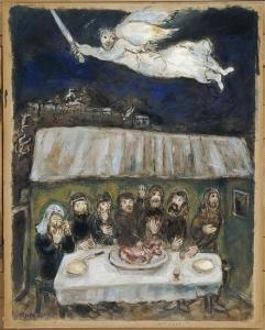 """""""Die Israeliten Essen das Passahlamm"""" von Marc Chagall (Gouache, 62x49 cm, 193) Quelle: WikiArt.org"""