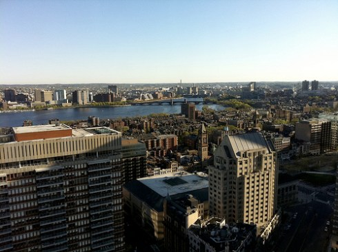Aerial view of Boston's Back Bay and Prudential area from 36th floor of the Marriott.