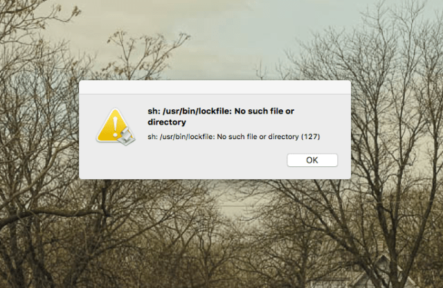 Mysterious error message after updating to El Capitan: sh: /usr/bin/lockfile: No such file or directory