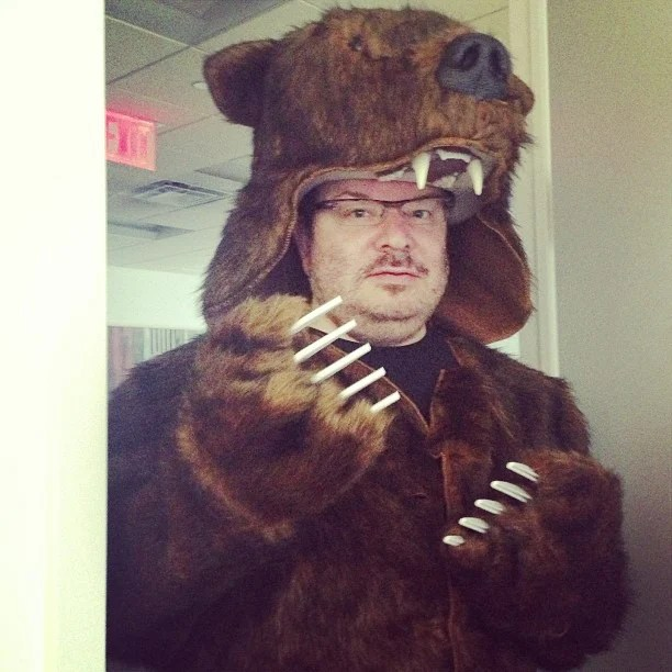 New office mascot: @zeldman rocking a bear costume - by Phillip Reyland