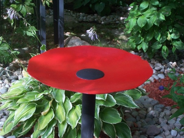 Red Poppy Seed Bird Bath