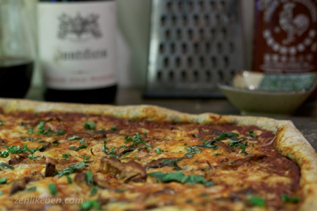 Homemade Sriracha Pizza - mushrooms and shallots with a Sriracha tomato pizza sauce is divine!