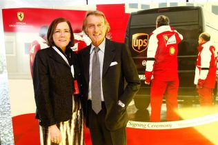 UPS Sponsors Ferrari F1 Team - 01 Christine Owens (UPS Senior VP, Comm and Brand Mgmt) with Stefano Dominicali (Scuderia Ferrari Team Principal)