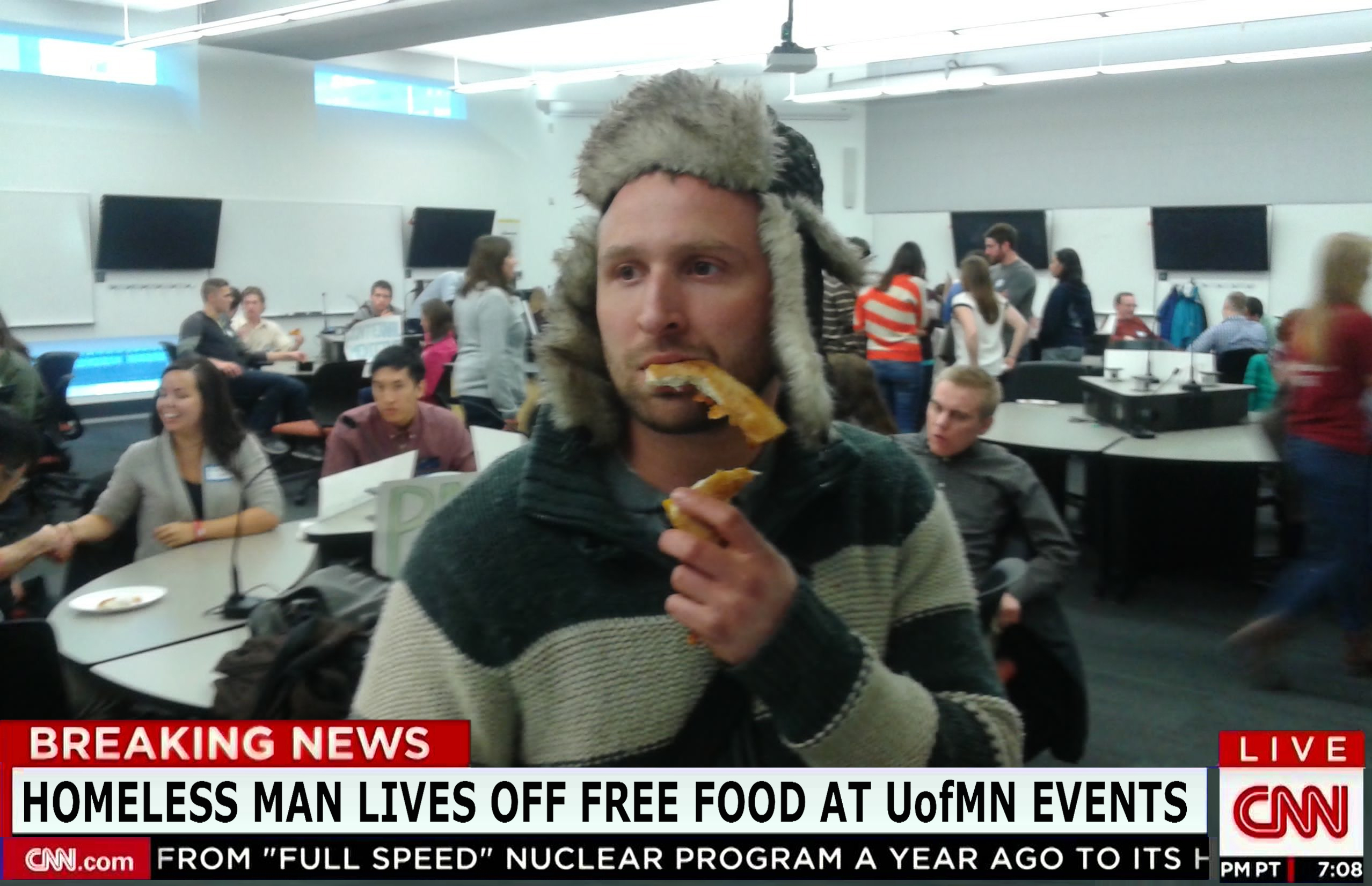 university of minnesota twin cities, coffman memorial union, CLA, Homeless Man Shares Diet of Free Food At UofMN Events, non-student, revealed his dietary secrets.economical and 'healthier then dumpsters,Pizza, Bagels, Chips, and Diet Coke, and Jimmy Johns, college life, eat for free, how to never pay for food, controversial, nonexistent screening process, don't ask for student ID, McCalister, MCTC's,free dining every dAY, best places in minnesota to eat free food, come grab 3 slices of pizza and leave, alternates between his only two coats, to avoid being recognized, alter egos with backstories.emergencies, feast of nations, umn events calendar, fun things to do, get arrested, cnn, breaking news, satire, STSS, pizza crust stock images, homeless man stock photo, crazy bum, no table manners