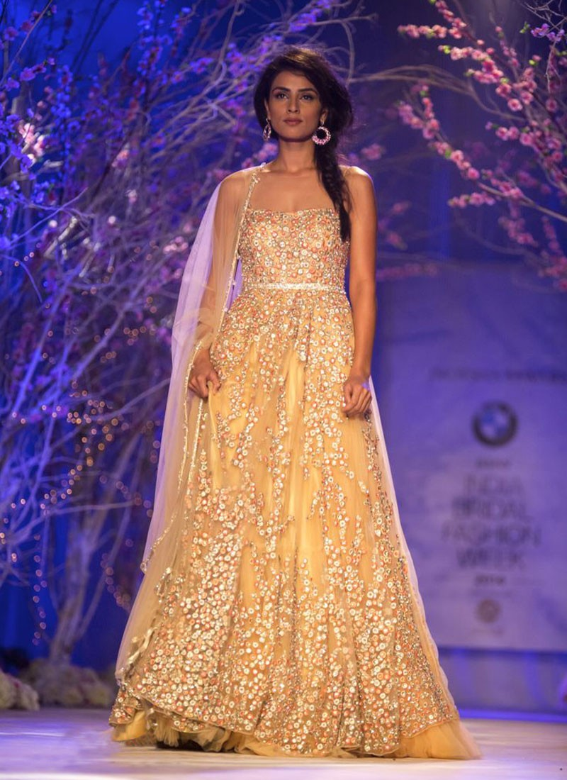 indo western dresses for bridal beige wedding dress Indo Western Wedding Gown With Multi Color Embroidery At Zikimo