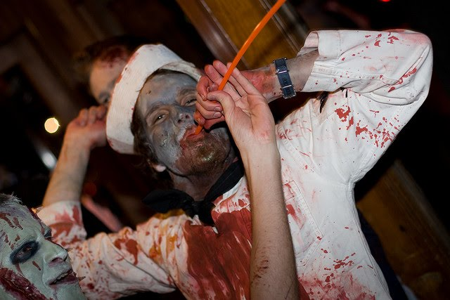 A man comes home to find a drunk zombie in his easy chair...