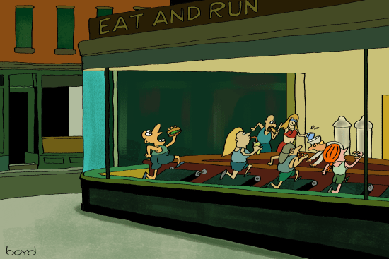 Edward Hopper-like eat and run