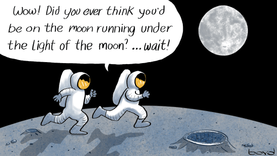Astronauts running on the moon