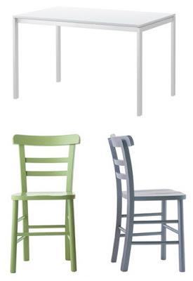 biały-stół-i-kolorowe-krzesła