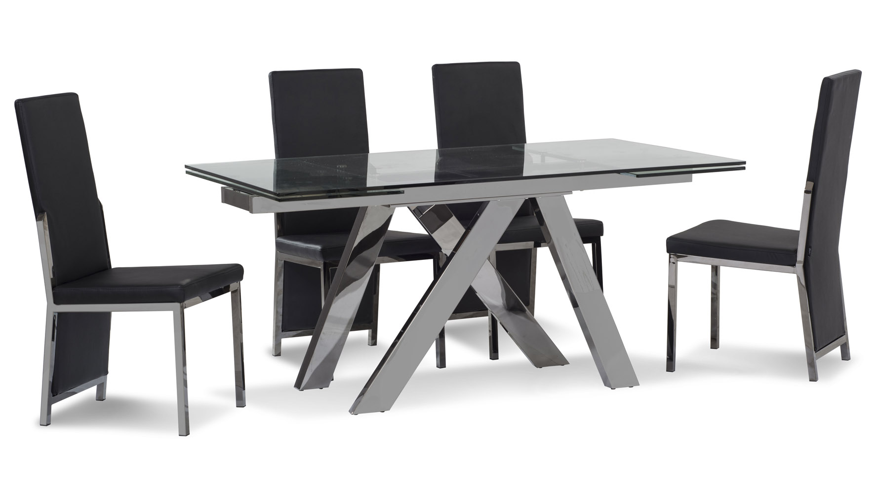 cruz expandable modern dining table with clear glass top YH 31097CLR 758576558349 2