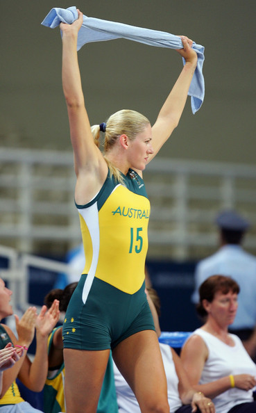 Lauren Jackson Lauren Jackson #15 of Australia celebrates their win over New Zealnd during the women's basketball quarterfinal game on August 25, 2004 during the Athens 2004 Summer Olympic Games at the Indoor Hall of the Olympic Sports Complex in Athens, Greece.