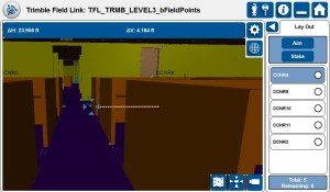 Sophisticated 3D BIM model being managed in Trimble Field Link software.  The model is used to manage day to day layout and data collect activities