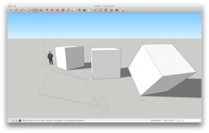SketchUp Pro 2015's Rotated Rectangle Tool draws rectangles that don't have to be perpendicular or parallel to a default axis.