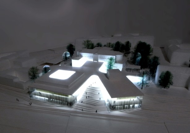 The theater of floating garden - night time rendering