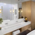 Master bathroom with cast resin translucent basin (Images Courtesy John Horner Photography)