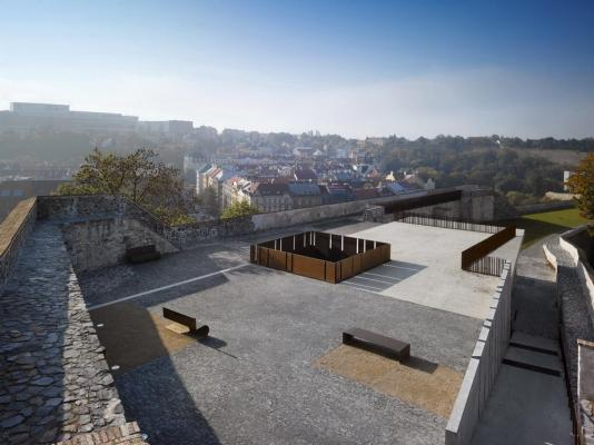 Intervention. East view. Viewing terrace on the roof of the building. 2011. Copyright: Filip Šlapal