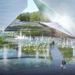 water features and landscape acts as public amenity during the day