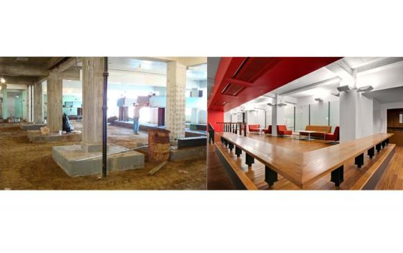 "Images show the state of what was once considered the ""basement"".  Over-excavation sometime in the 1960's revealed the tops of foundations which were integrated into the design of the new learning commons – enhancing the character of the space. Image credit (right): Adam Cohen Photography"