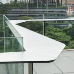 Angular bar ledge and railing at roof terrace, Image Courtesy © Patrick Bingham-Hall