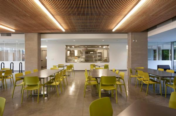 Homeless resource center's kitchen and cafeteria demonstrating adaptive reuse potential. - Photo Credit: Sally Schoolmaster