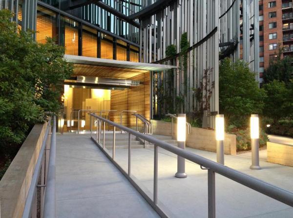 Main Entry at Night - Photo Credit: SERA
