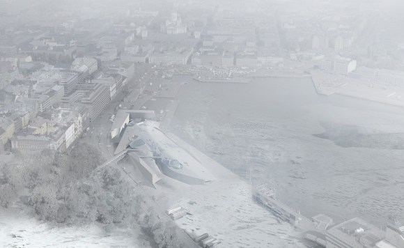 Aerial View of Museum In Winter - Looking North, Image Courtesy © PLUS-SUM Studio