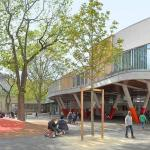 """THE EXTENSION IN THE COURTYARD  """"TREE HOUSE"""" CLASSROOMS, Image Courtesy © ADEN ARCHITECTES"""