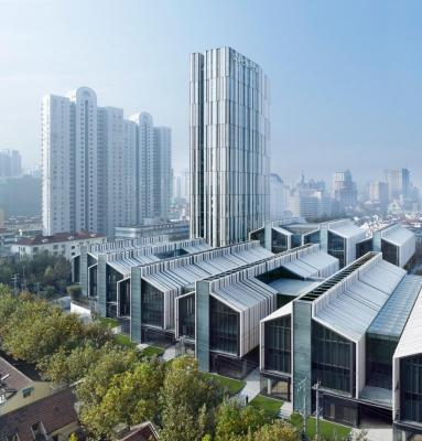View from the east showing the development and the 100 m high office tower, Image Courtesy © Christian Gahl