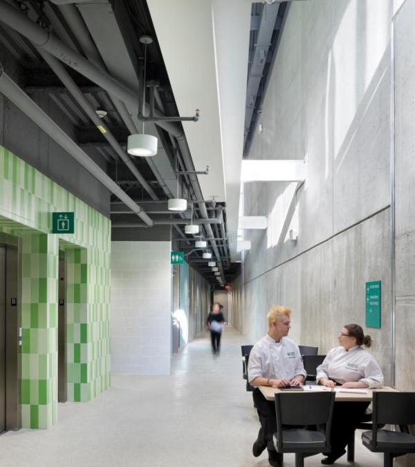 Light wells bring natural light into the lower-level student spaces,Image Courtesy © Tom Arban