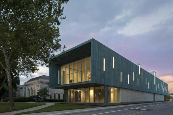 View of Columbus Museum of Art's new Margaret M. Walter Wing with the Museum's historic Richard M. and Elizabeth M. Ross Building at dusk, Image Courtesy © Brad Feinknopf