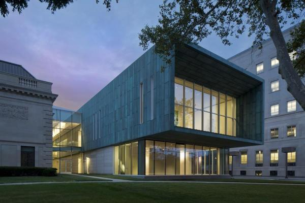 Columbus Museum of Art's new Margaret M. Walter Wing and the glass atrium that joins the new wing to the historic Richard M. and Elizabeth M. Ross Building at dusk, Image Courtesy © Brad Feinknopf