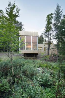 East facade and view toward cantilevered screened room, Image Courtesy © Adrien Williams