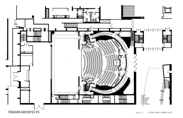Floor Plan – Lobby Level, Image Courtesy © Trahan Architects