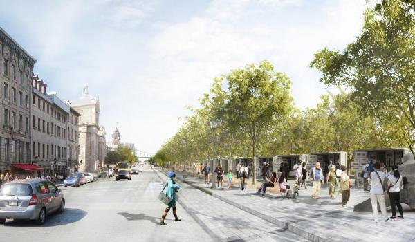 A special promenade will be set up along rue de la Commune in the extension of Place Jacques-Cartier. Kiosks for artists and artisans will nestle beneath a canopy of trees, Image Courtesy © Atelier VAP, Montréal