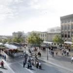 Terrasses will be installed in a side-alley. Their zinc roofs hark back to both the old-style stalls and the shape of the roof of a market building. A promenade will be designed at the centre of the square, Image Courtesy © Atelier VAP, Montréal