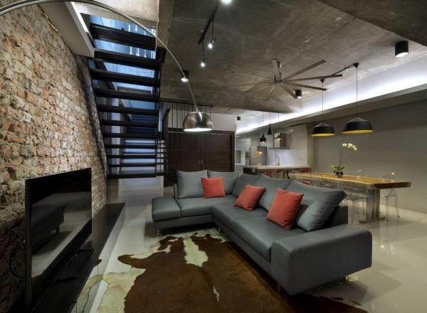 An open concept Living / Dining / Dry Kitchen that visually and physically expands a space, Image Courtesy © H. Lin Ho