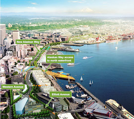Parsons Brinckerhoff used a variety of Autodesk BIM software and visualization software to create large models of Seattle to illustrate how the tunnel project would transform the waterfront landscape. Image courtesy Washington State DOT and Parsons Brinckerhoff