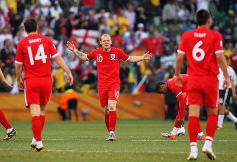Wayne Rooney of England reacts during the 2010 FIFA World Cup South Africa Round of Sixteen match between Germany and England at Free State Stadium on June 27, 2010 in Bloemfontein, South Africa.