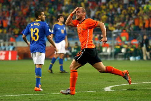 Wesley Sneijder of the Netherlands celebrates scoring his team's second goal during the 2010 FIFA World Cup South Africa Quarter Final match between Netherlands and Brazil at Nelson Mandela Bay Stadium on July 2, 2010 in Nelson Mandela Bay/Port Elizabeth, South Africa.