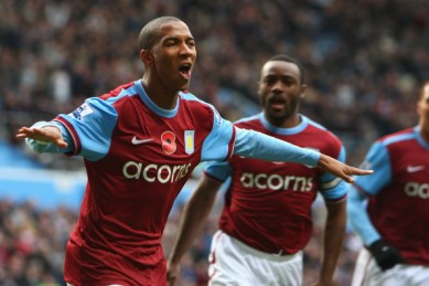 Ashley Young of Aston Villa  celebrates his goal during the Barclays Premier League match between Aston Villa and Bolton Wanderers at Villa Park on November 7, 2009 in Birmingham, England.