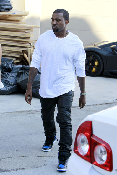 > Kanye West wearing Air Jordan 1 Black/Royal blue - Photo posted in Kicks @ BX  (Sneakers & Clothing) | Sign in and leave a comment below!