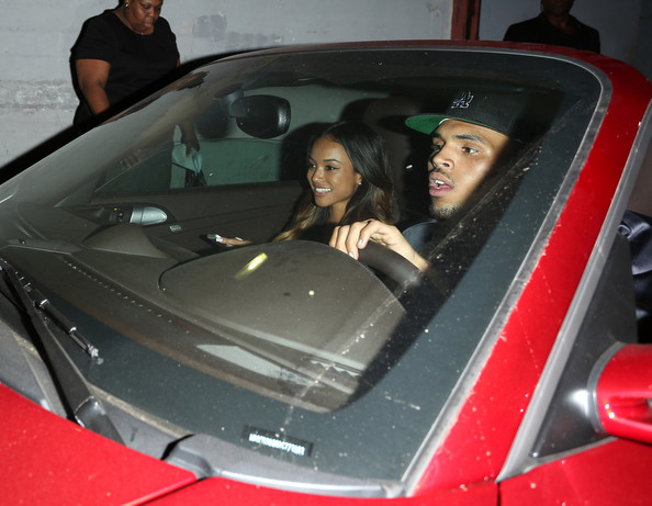 Singer Chris Brown leaves his BET after party at The Belasco Theater with girlfriend Karreuche Tran in Los Angeles.