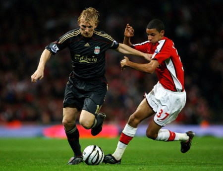 Dirk Kuyt of Liverpool is challenged by Craig Eastmond of Arsenal during the Carling Cup 4th Round match between Arsenal and Liverpool at the Emirates Stadium on October 28, 2009 in London, England.
