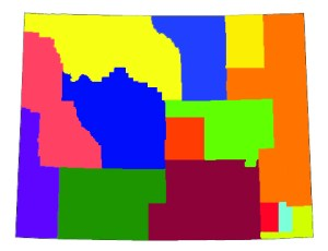 The estimated borders of Wyoming's 14 Gillette-sized high schools.