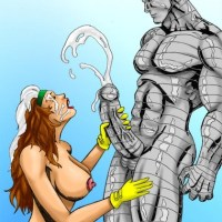 Hopefully rouges mouth wont hurt you too!  Cause that sure would be a shame if this slutty beauty couldnt suck cock.  This whore loves being covered in cum and the x-men will be more than willing to soak the slut.